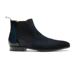 Side of the Renley Navy Suede
